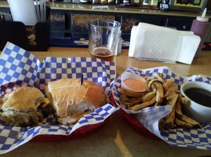 The Beam's Burger Dip -- a pair of patties with sauteed onions, fries with fry sauce, and au jus for dipping.