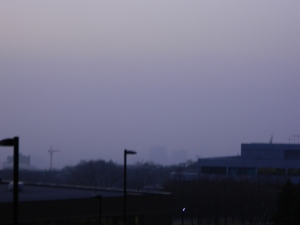 Salt Lake's smog in February, 2013. The downtown buildings are somewhere in the haze.